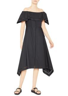 Theory Off the Shoulder Handkerchief Hem Cotton Dress
