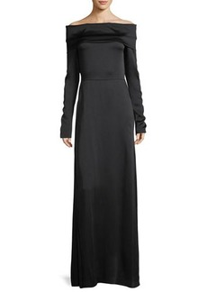 Theory Off-the-Shoulder Long-Sleeve Elegant Maxi Dress