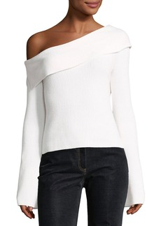 Theory One-Shoulder Fold-Over Long-Sleeve Ribbed Sweater