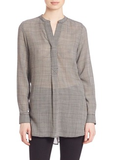 Theory Orvinio Geometric Virgin Wool Blend Blouse