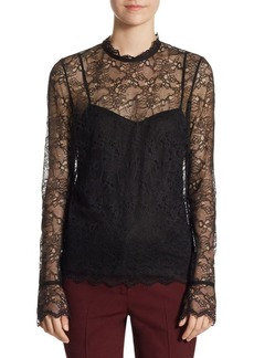 Theory Overlay Floral Lace Top