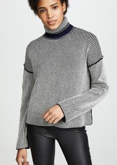 Theory Oversized Stripe Cashmere Turtleneck