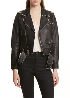 Theory Painted Edge Shrunken Leather Moto Jacket