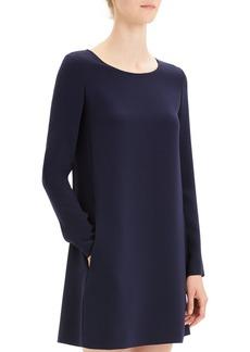 Theory Paneled Crepe Long-Sleeve Shift Dress