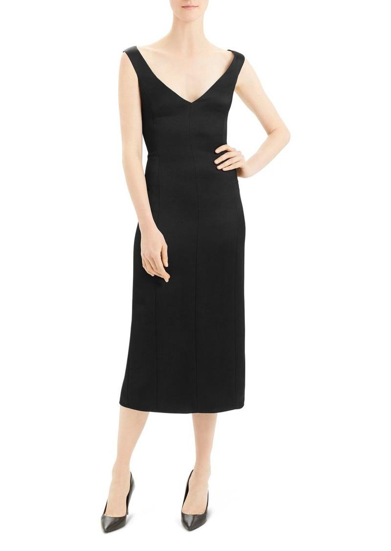 Theory Paneled Crepe Midi Dress