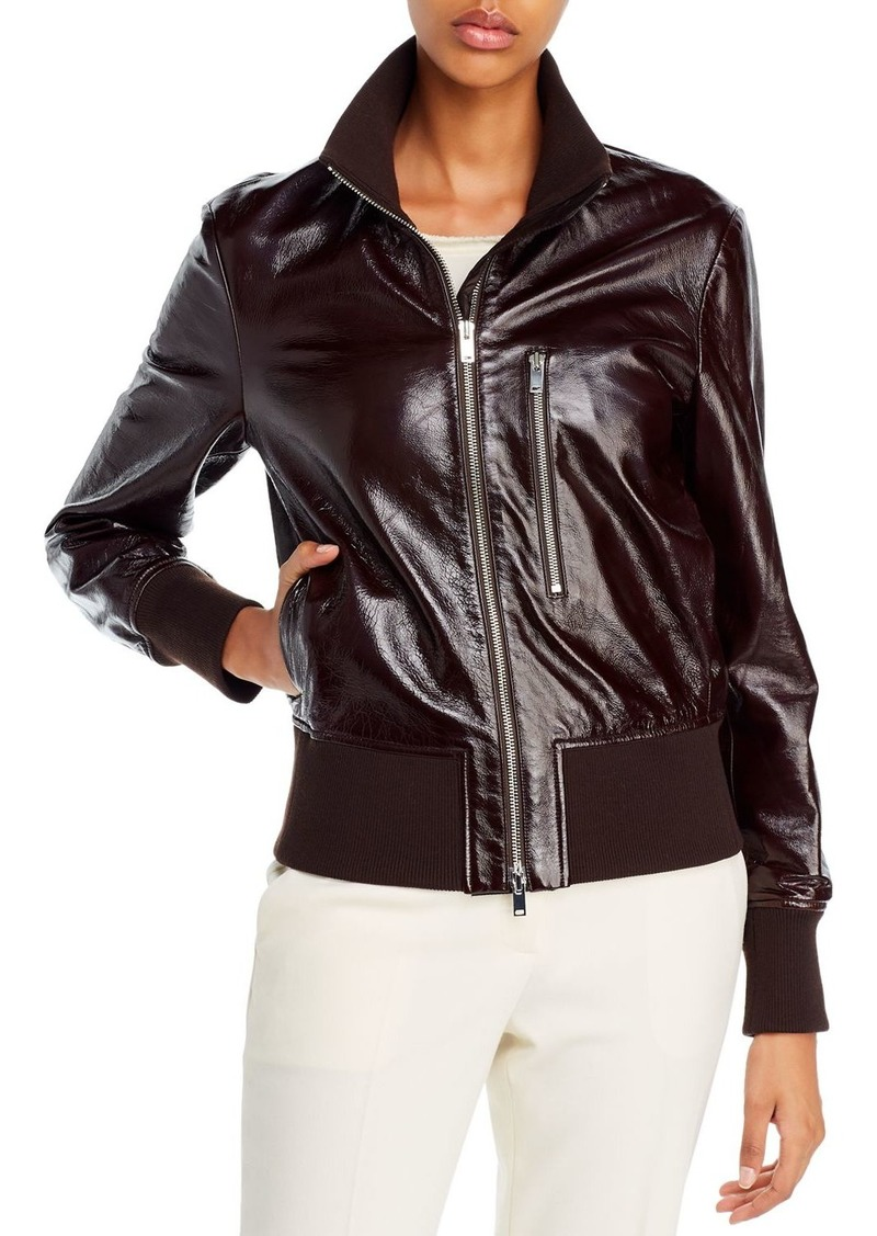 Theory Patent Leather Aviator Jacket