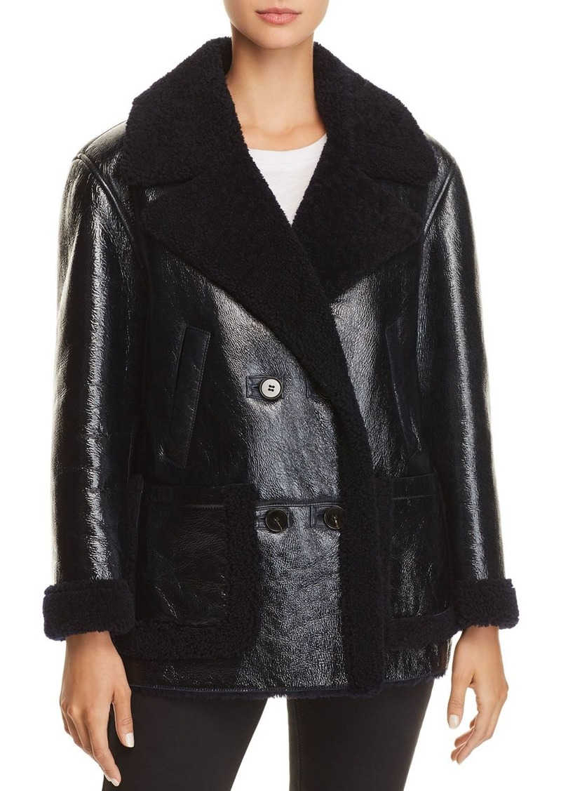 Theory Patent Shearling Jacket