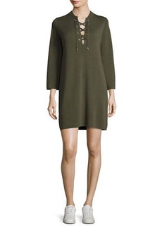 Theory Patrinelle Lace-Up Sweater Dress