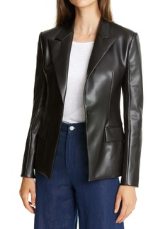 Theory Peaked Lapel Faux Leather Blazer