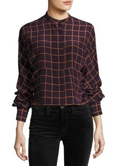 Theory Perfect Dolman York Plaid Blouse Top