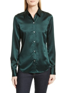 Theory Perfect Fitted Stretch Satin Shirt