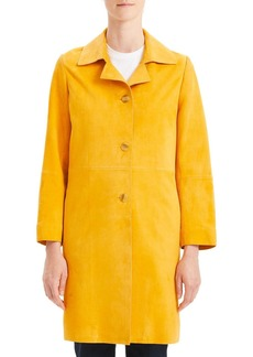 Theory Piazza Suede Button-Front Long Coat