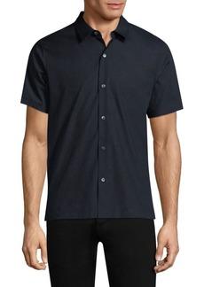 Theory Piqué Cotton Short-Sleeve Shirt