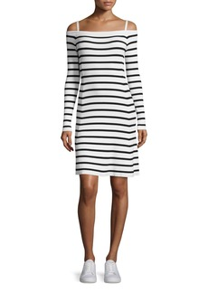 Theory Pirellia Prosecco Striped Cold-Shoulder Dress