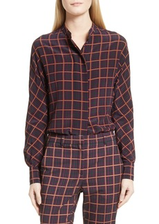 Theory Plaid Dolman Sleeve Silk Blouse