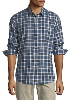 Theory Plaid Flannel Cotton Sport Shirt