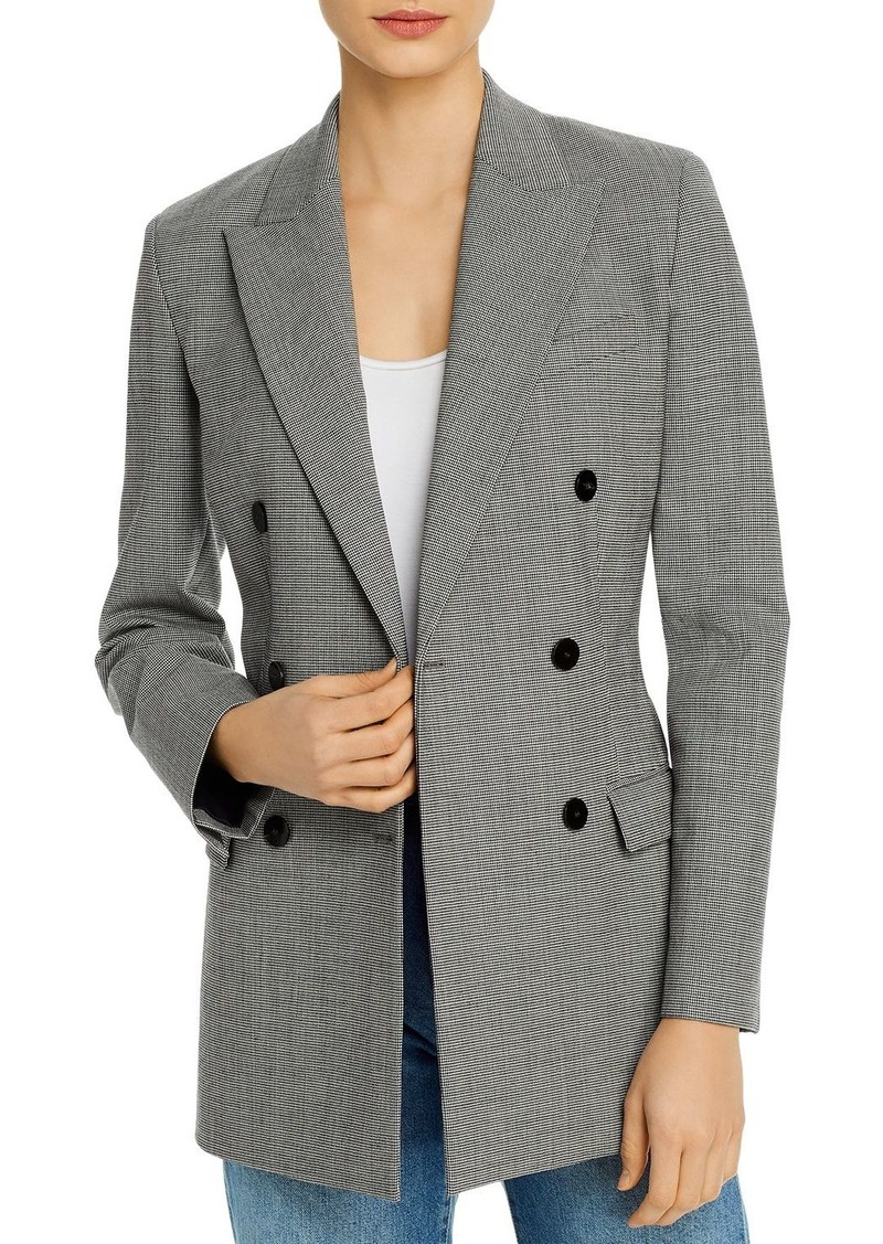 Theory Plaid Double Breasted Tailored Blazer
