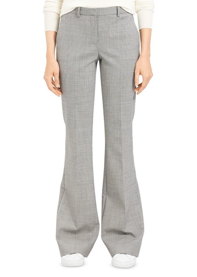 Theory Plaid Wool-Stretch Flared Pants