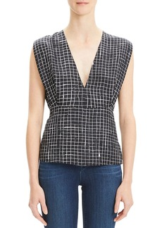 Theory Pleated Check V-Neck Kimono Top