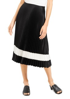 Theory Pleated Crepe Color-Block Midi Skirt
