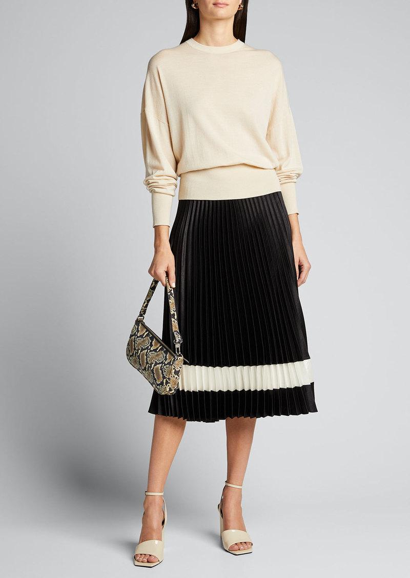 Theory Pleated Crepe Midi Skirt