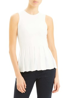 Theory Pleated Peplum Sleeveless Sweater
