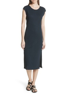 Theory Plume Seamed Cotton Blend Jersey Dress