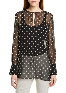 Theory Polka Dot Silk Chiffon Tunic
