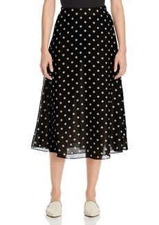 Theory Polka-Dot Silk Skirt