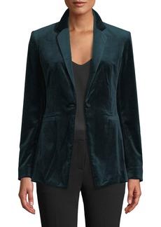 Theory Power Velvet One-Button Blazer Jacket