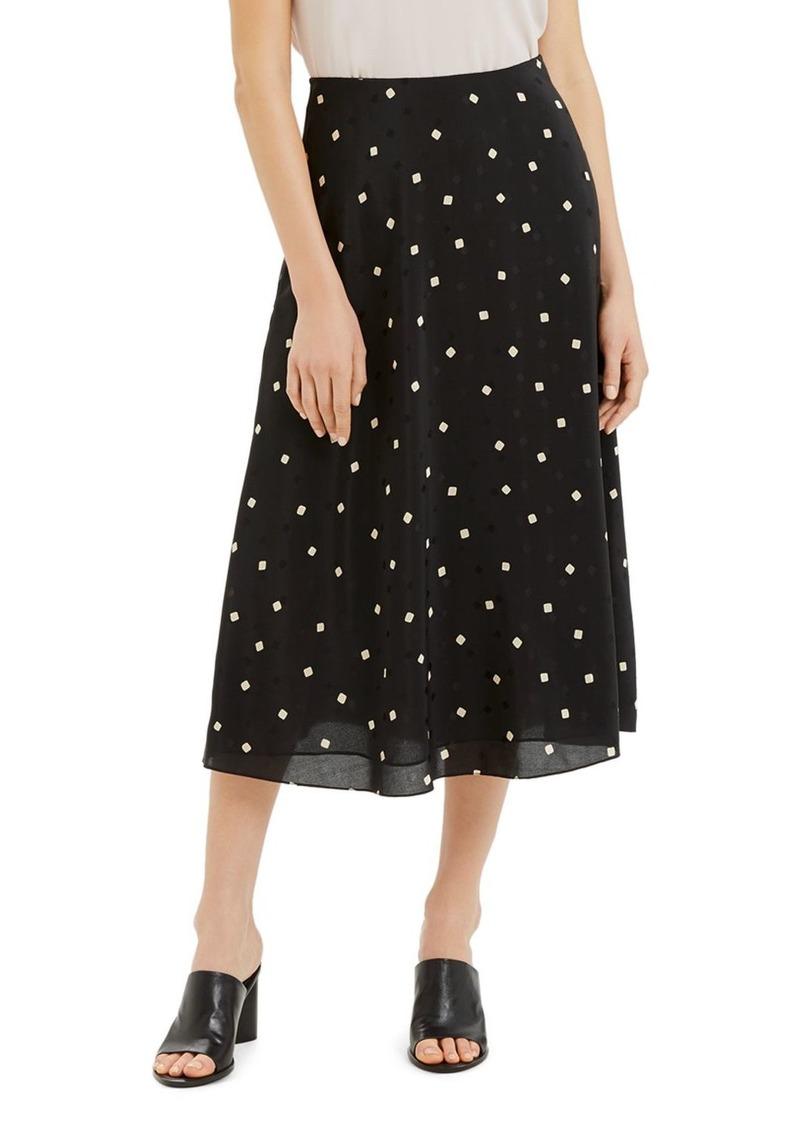 Theory Printed Silk Midi Skirt