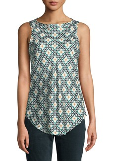 Theory Printed Silk Sleeveless Racerback Top