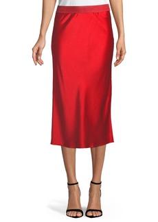 Theory Pull-On Silk Slip Midi Skirt