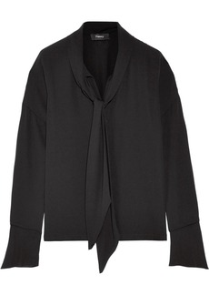 Theory Pussy-bow silk crepe de chine blouse