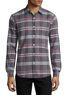 Theory Rammy Mantra Plaid Linen-Cotton Shirt