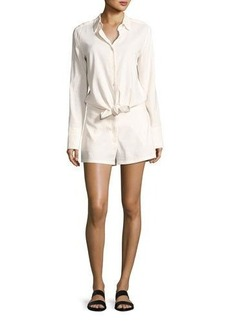 Theory Ranay Crunch Wash Long-Sleeve Romper