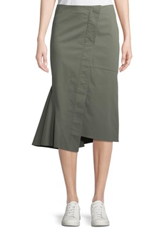 Theory Reconstructed Midi Casual Twill Skirt