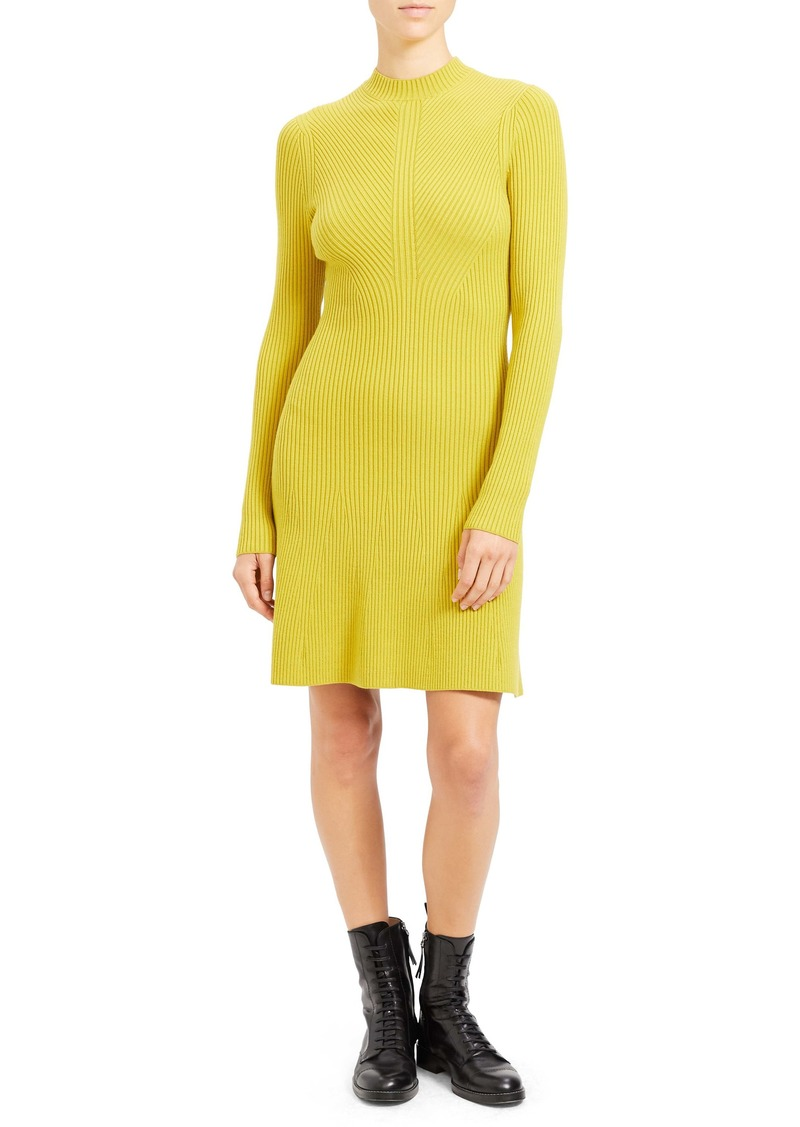 Theory Regal Moving Ribbed Long Sleeve Merino Wool Blend Sweater Dress