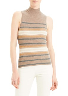 Theory Regal Stripe Ribbed Sleeveless Cashmere Sweater