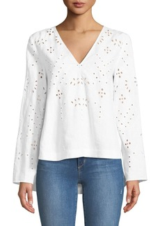 Theory Relaxed Eyelet Linen V-Neck Top