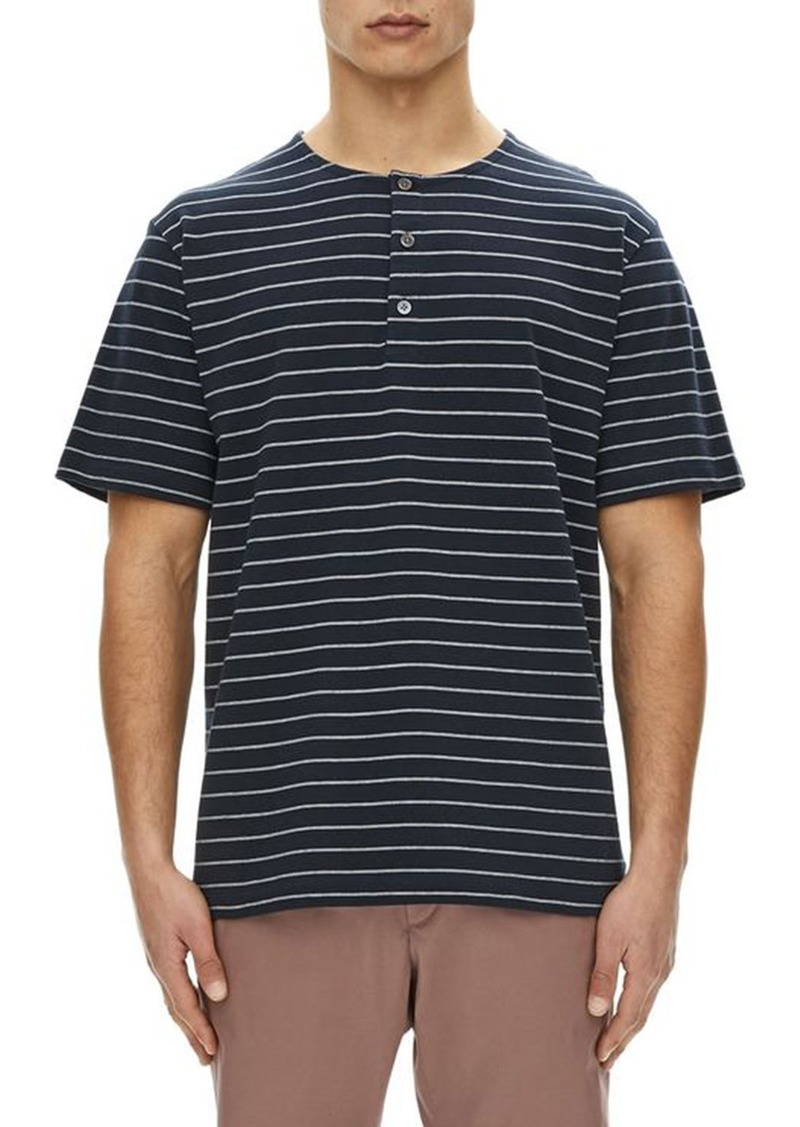 409a5378 Theory Relaxed Striped Short-Sleeve Henley Shirt