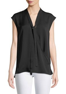 Theory Relaxed Tie-Neck Sleeveless Silk Wrap Top