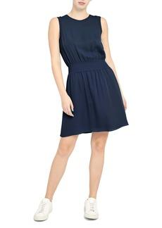 Theory Rib Trim Sleeveless Silk Dress