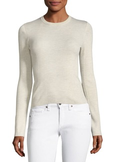 Theory Ribbed Crewneck Refine Wool Top