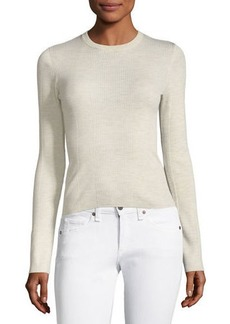 Ribbed Crewneck Refine Wool Top