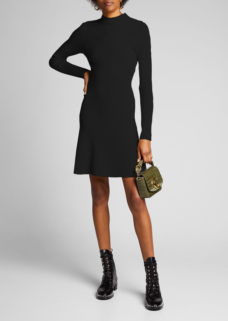 Theory Ribbed Long-Sleeve Wool Dress