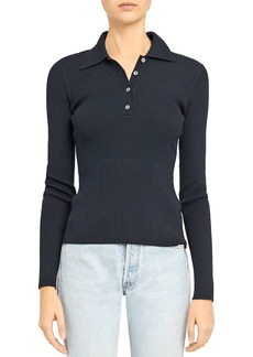 Theory Stretch Ribbed Polo Sweater