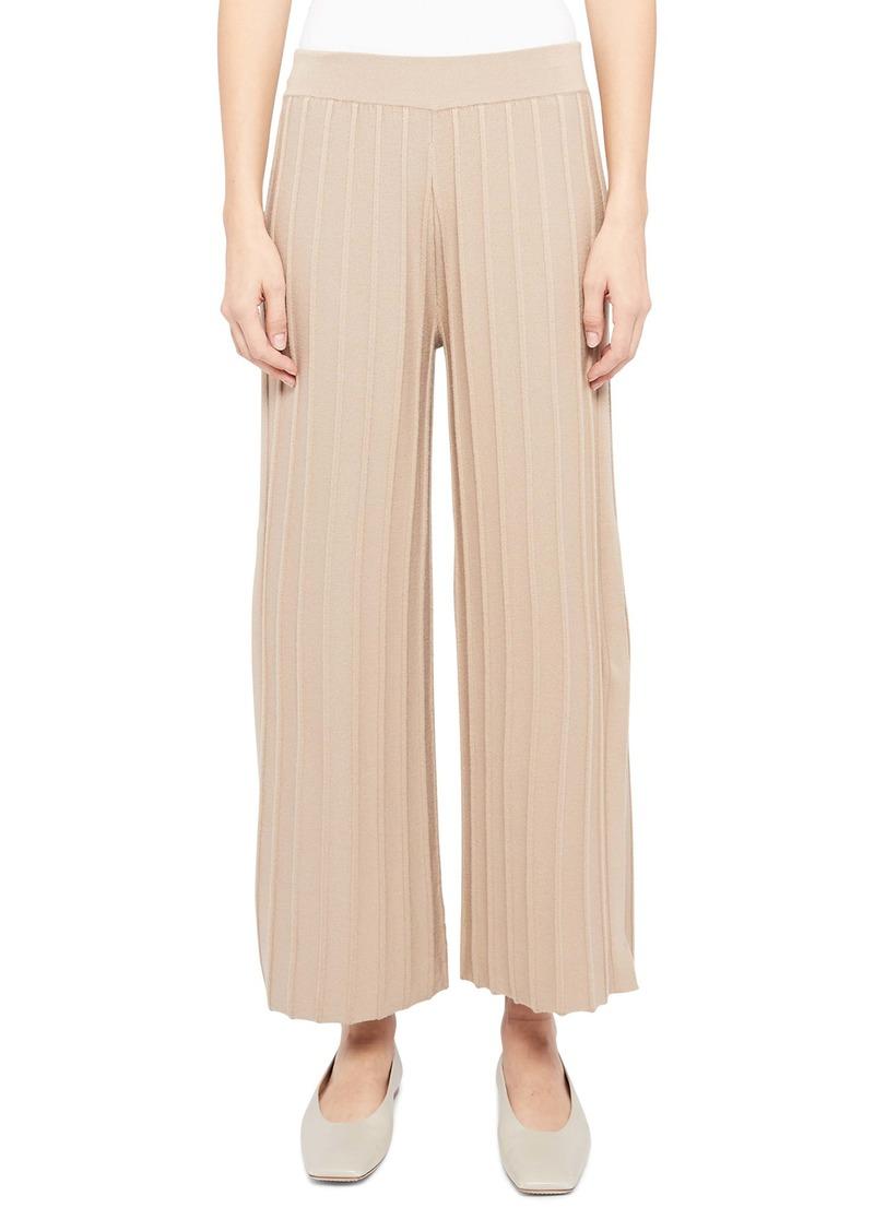 Theory Ribbed Wool Blend Wide Leg Pants