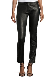 Theory Riding Fitted Straight-Leg Lamb Leather Pants