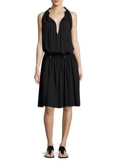 Theory Ritah Classic Georgette Sleeveless Smocked-Waist Dress